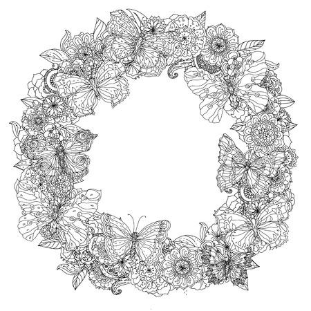 Circle oriënteren floral frame en opengewerkte vlinders, zwart en wit ornament kon gebruiken voor het kleuren van boek in zentanglestijl zijn.