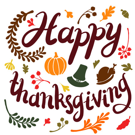 Vignette of autumn leaves . Autumn, leaves, includes text Happy thanksgiving Vector illustration
