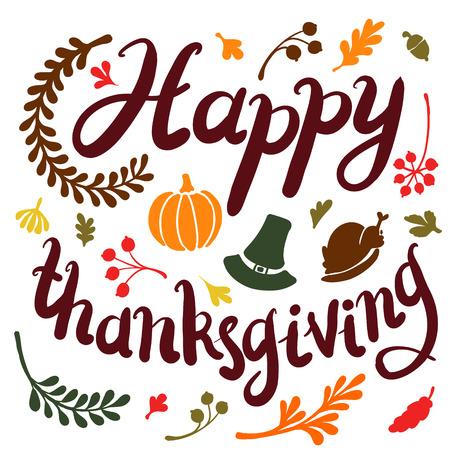 Vignet van de herfstbladeren. De herfst, bladeren, omvat tekst Gelukkige dankzegging Vector illustratie