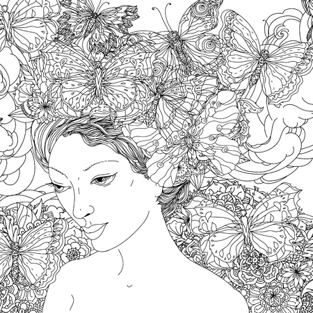 Beautiful fashion woman face with abstract hair  with butterfly in the image of a elfin and floral design elements could be used  for coloring book.  Black and white in zentangle style.