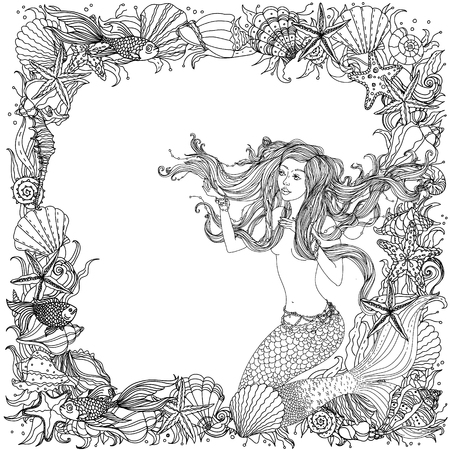 hair ornament: black and white frame as ornament of seashells, starfish, seaweed and woman with abstract hair in the image of a mermaid, could be use  for coloring book  in zentangle style.
