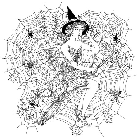 cobwebs: Beautiful fashion woman as a witch with design with cobwebs, spiders  and other decorations on Halloween, could be used  for coloring book.  Black and white in zentangle style.