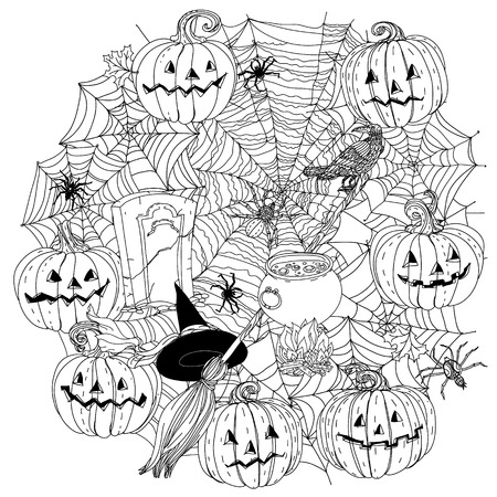cobwebs: Circle black and white  ornament of cobwebs, spiders, crows, pumpkins and other decorations on Halloween, could be use  for coloring book  in zentangle style.