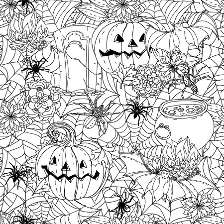 cobwebs: seamless  black and white  ornament of cobwebs, spiders, pumpkins and other decorations on Halloween could be use  for coloring book  in zentangle style. Illustration