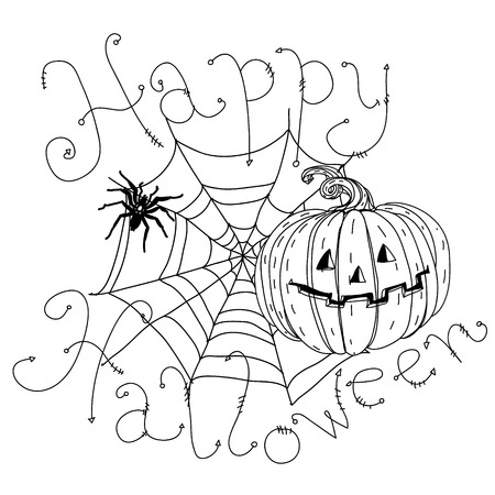 cobwebs: black and white baner with cobwebs, spiders, crows, pumpkins and other decorations on Halloween, could be use  for coloring book  in zentangle style. includes words Happy Halloween