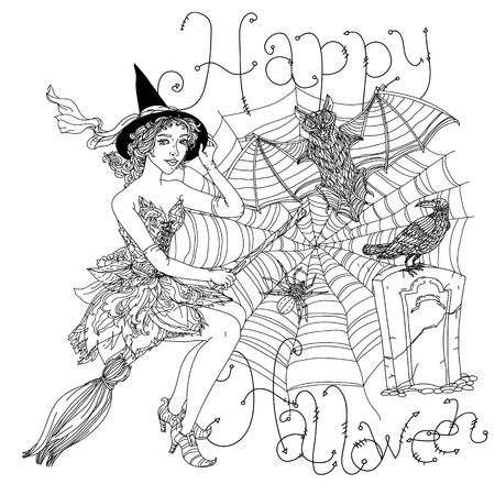 cobwebs: Beautiful fashion woman as a witch with design with cobwebs, spiders, crows, pumpkins and other decorations on Halloween, could be used  for coloring book.  includes words Happy Halloween Black and white in zentangle style. Illustration