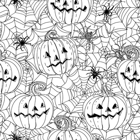 cobwebs: seamless  black and white  ornament of cobwebs, spiders and pumpkins could be use  for coloring book  in zentangle style. Illustration