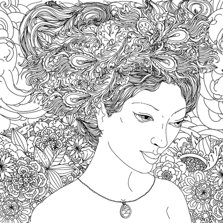 elfin: Beautiful fashion female or androgyne face with abstract hair with Peacock feathers in the image of a elfin and floral design elements could be used for coloring book. Black and white in zentangle style.