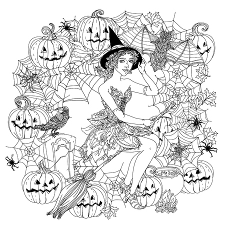 cobwebs: Beautiful fashion woman as a witch with design with cobwebs, spiders, crows, pumpkins and other decorations on Halloween, could be used for coloring book. Black and white in zentangle style.