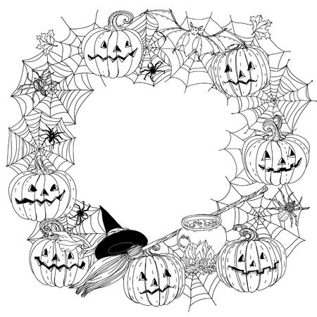 cobwebs: Circle black and white ornament of cobwebs, spiders, crows, pumpkins and other decorations on Halloween, could be use for coloring book in zentangle style. Stock Photo