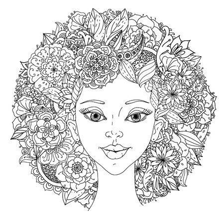 hair feathers: Beautiful fashion orientdl women with abstract hair and floral design elements of Peacock feathers, could be used for coloring book. Black and white in zentangle style. Stock Photo