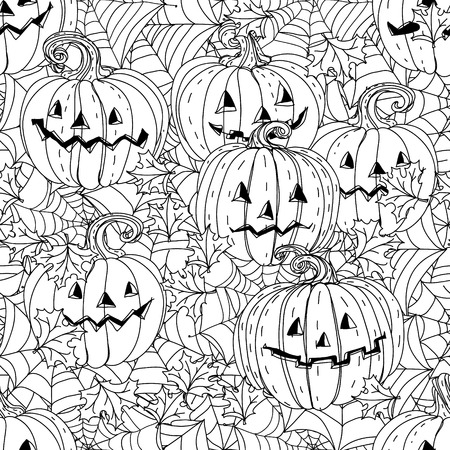 cobwebs: seamless black and white ornament of cobwebs, spiders and pumpkins could be use for coloring book in zentangle style.
