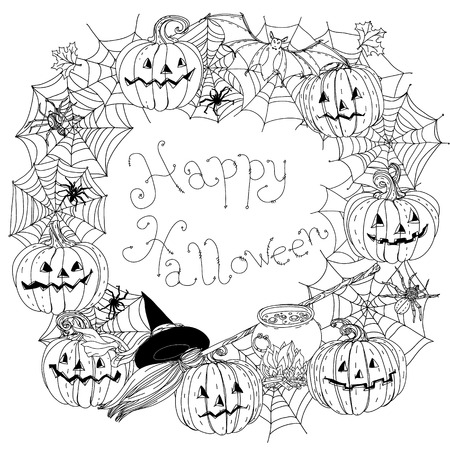 cobwebs: black and white frame of cobwebs, spiders, crows, pumpkins and other decorations on Halloween, could be use for coloring book in zentangle style. includes words Happy Halloween