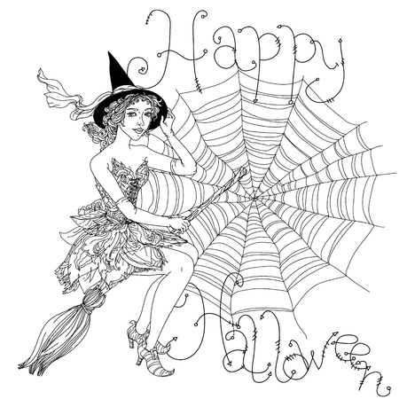 cobwebs: Beautiful fashion woman as a witch with design with cobwebs, spiders, crows, pumpkins and other decorations on Halloween, could be used for coloring book. includes words Happy Halloween Black and white in zentangle style.
