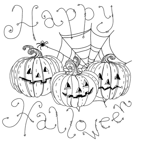cobwebs: black and white banner with cobwebs, spiders, crows, pumpkins and other decorations on Halloween, could be use for coloring book in zentangle style. includes words Happy Halloween Stock Photo