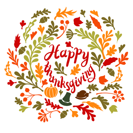 Vignette of autumn leaves . Autumn, leaves, includes text Happy thanksgiving illustration