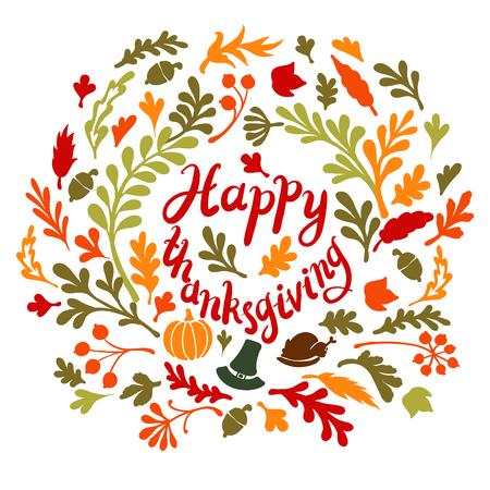 happy thanksgiving: Vignette of autumn leaves . Autumn, leaves, includes text Happy thanksgiving illustration