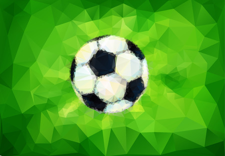 soccer field: Football image. Ball on th green background. Soccer field illustration in triangular style