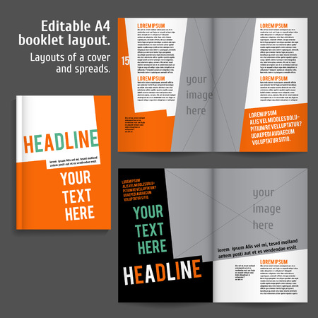 advertising column: A4 booklet Layout Design Template with Cover and 2 spreads of Contents Preview. For design magazine, book, annual report. Illustration