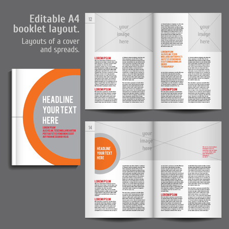 A4 booklet Layout Design Template with Cover and 2 spreads of Contents Preview. For design magazine, book, annual report. Vettoriali