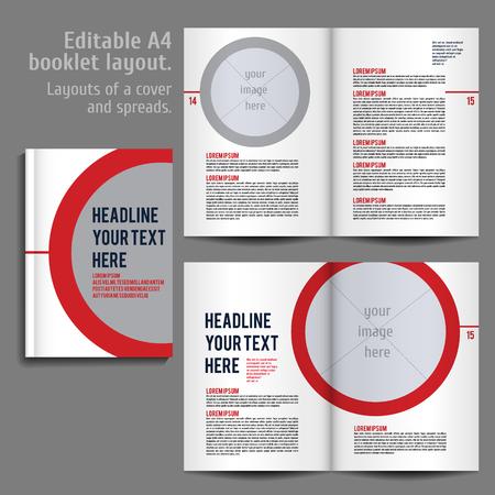 informe: Folleto A4 diseño de plantillas de diseño con tapa y 2 diferenciales de Contenido Vista previa. Para la revista de diseño, libro, informe anual.
