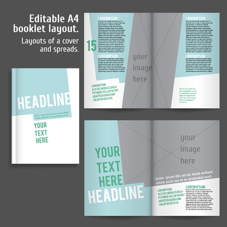 book spreads: A4 book  Layout Design Template with Cover and 2 spreads of Contents Preview. For design magazines, books, annual reports.