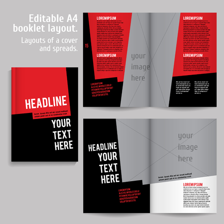 content: A4 book  Layout Design Template with Cover and 2 spreads of Contents Preview. For design magazines, books, annual reports.