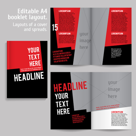 libro abierto: A4 libro diseño de plantillas de diseño con tapa y 2 diferenciales de Contenido Vista previa. Para revistas de diseño, libros, informes anuales.