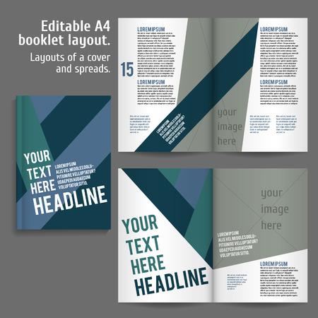contents: A4 book  Layout Design Template with Cover and 2 spreads of Contents Preview. For design magazines, books, annual reports.