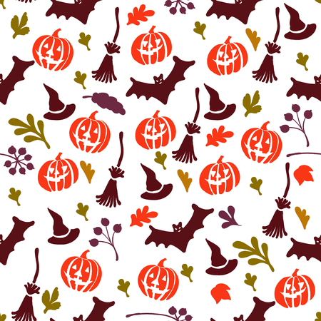seamless pattern for Halloween icons on a white background Illustration