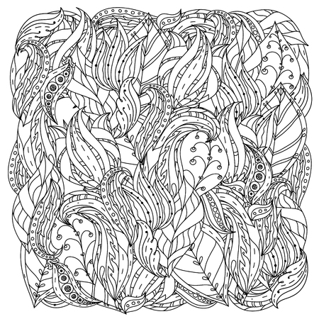 could: orient floral black and white  ornament with abstract flowers could be use  for coloring book  in zentangle style.