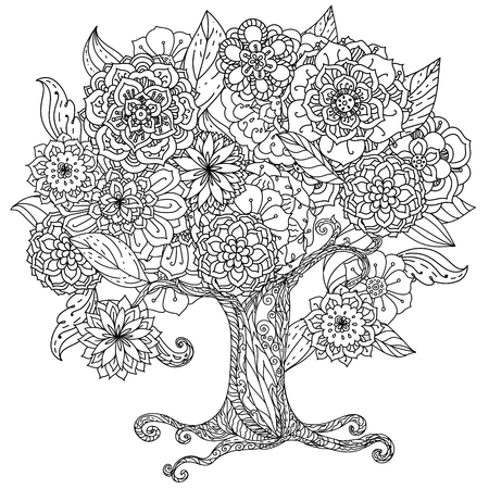 henna tattoo: Circle shape orient floral black and white tree could be use  for coloring book  in zentangle style.