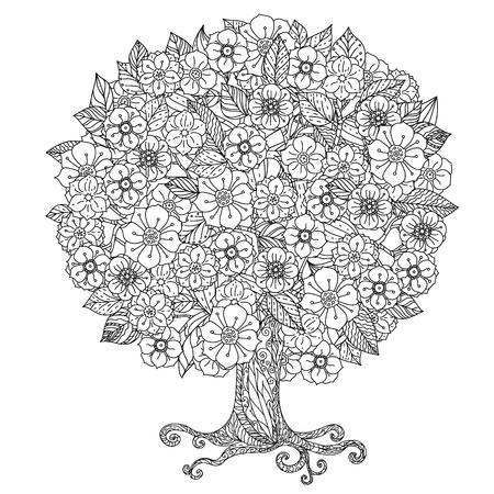 Cirkel vorm oriënteren bloemen zwart en witte boom kon gebruiken voor het kleuren boek in zentanglestijl zijn. Stock Illustratie