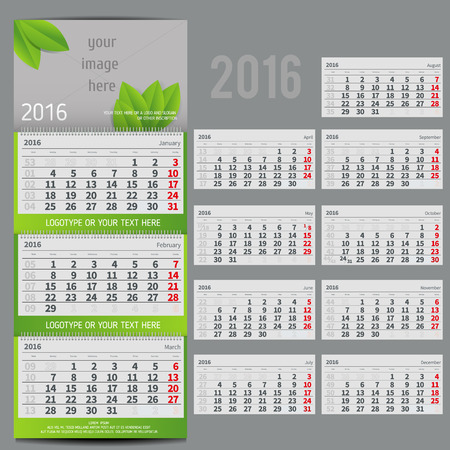 three month: Vector calendar 2016 - Planner for three month includes space for photo and text in ECO style Illustration