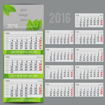 planner: Vector calendar 2016 - Planner for three month includes space for photo and text in ECO style Illustration