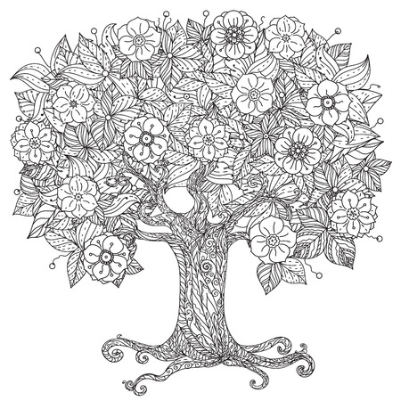 Orient floral black and white tree could be use  for coloring book  in zentangle style.