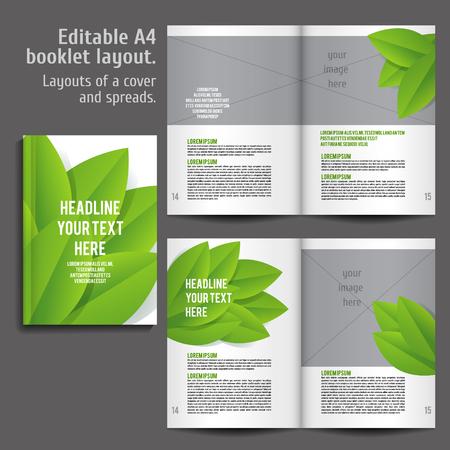 A4 boek Lay-out ontwerp sjabloon met Cover en 2 spreads Inhoud Voorbeeld. Voor het ontwerp tijdschriften, boeken, jaarverslagen. ECO stijl en groene kleuren.