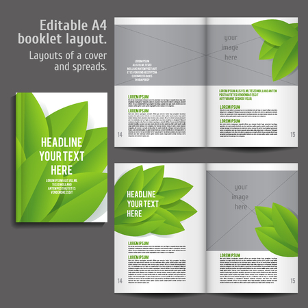 book spreads: A4 book  Layout Design Template with Cover and 2 spreads of Contents Preview. For design magazines, books, annual reports. ECO style  and green colors. Illustration