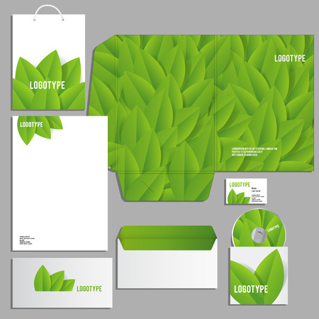guideline: Corporate identity template. Vector company style for brandbook and guideline. ECO style  and green colors.
