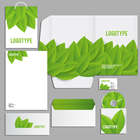 corporate identity template: Corporate identity template. Vector company style for brandbook and guideline. ECO style  and green colors.
