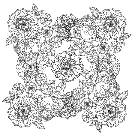 japanise: Floral ornament. Art mandala style.  Black and white background. Could be use  for coloring book  in zentangle style. Illustration