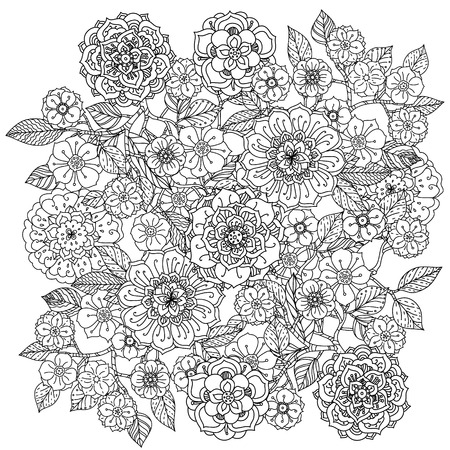 book design: Floral ornament. Art mandala style.  Black and white background. Could be use  for coloring book  in zentangle style. Illustration