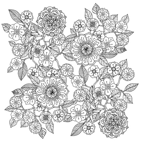 Floral ornament. Art mandala style.  Black and white background. Could be use  for coloring book  in zentangle style. Stock Illustratie