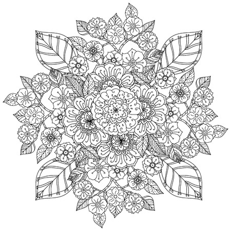 could: Floral ornament. Art mandala style.  Black and white background. Could be use  for coloring book  in zentangle style. Illustration