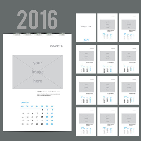 schedule appointment: Wall Monthly Calendar for 2016 Year. Vector Design Print Template with Place for photo and text.  A3, A2 or bigger. Week Starts Monday. Portrait Orientation. Set of 12 Months. 13 pages