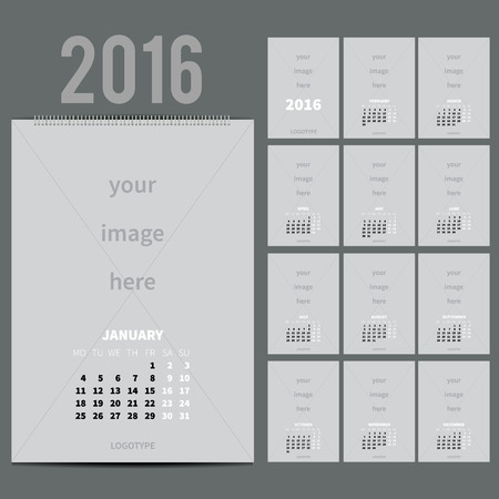 12 13: Wall Monthly Calendar for 2016 Year. Vector Design Print Template with Place for photo and text.  A3, A2 or bigger. Week Starts Monday. Portrait Orientation. Set of 12 Months. 13 pages