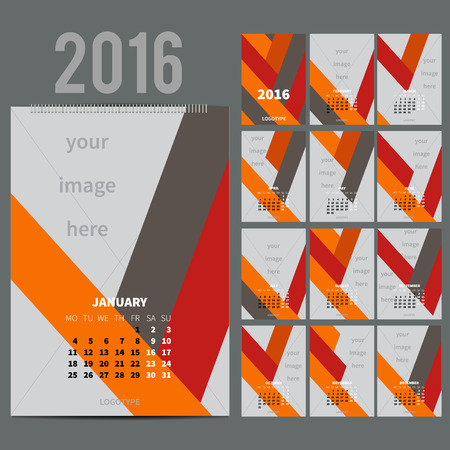 calendario julio: Geom�trico calendario de pared mensual para 2016 A�o. Dise�o vectorial plantilla de impresi�n con lugar para la foto. A3, A2 o m�s grande. La semana comienza el lunes. Orientaci�n Vertical. Conjunto de 12 meses y la cubierta. 13 p�ginas