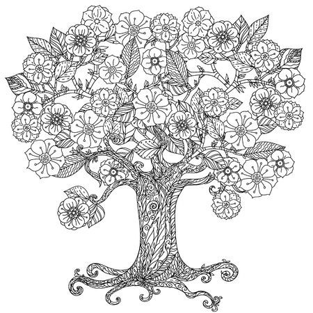 For coloring book  in zentangle style. Floral ornament. Art mandala style.  Black and white background.  イラスト・ベクター素材