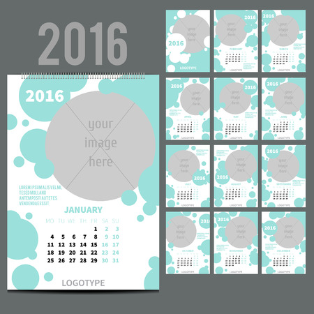 12 13: Geometrical Wall Monthly Calendar for 2016 Year. Vector Design Print Template with Place for photo.  A3, A2 or bigger. Week Starts Monday. Set of 12 Months and Cover. 13 pages. Fresh blue colour