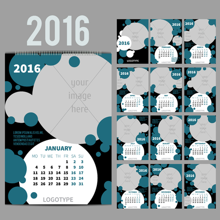 a2: Geometrical Wall Monthly Calendar for 2016 Year. Vector Design Print Template with Place for photo.  A3, A2 or bigger. Week Starts Monday. Portrait Orientation. Set of 12 Months and Cover. 13 pages